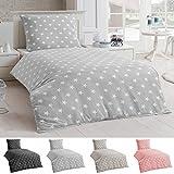 Dreamhome24 Bettwäsche Microfaser Bettbezug 135x200 Sterne Kissenbezug Grau Taupe silber, Farbe:Silber