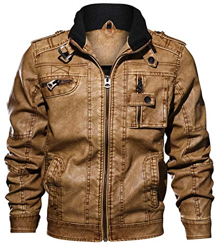 chouyatou Herren Casual Langarm-Zip-up Distressed Kunstleder Moto Jacke mittel braun (Moto Braun Kunstleder Jacke)