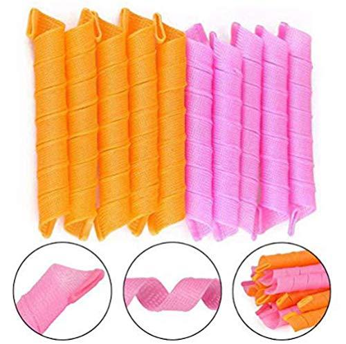 AJIAFA Damen Spirale Schlaf Kräuselt Sich 40 Stück Magic Curler Lockenwickler aus Kunststoff mit Friseurutensilien 45 cm