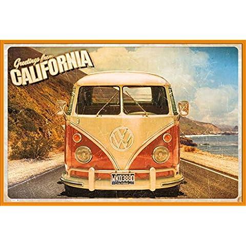 Empire Interactive - Poster, soggetto: cartolina dalla California con furgoncino Volkswagen Cornice di plastica arancione
