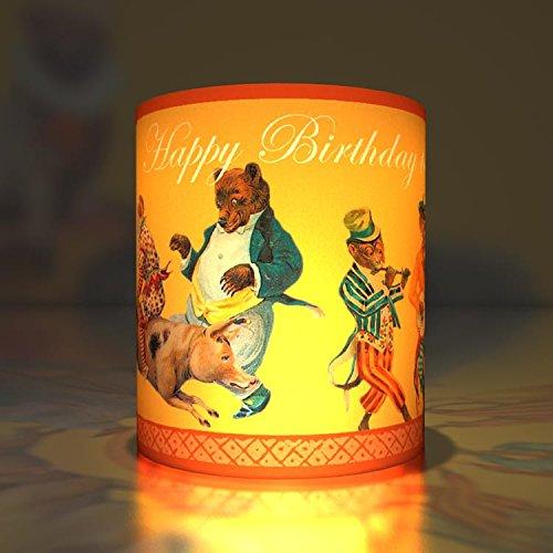 5 Happy Birthday Geburtstags Transparentlichter / Teelicht Halter als Party Deko, fröhliche Transparentleuchten