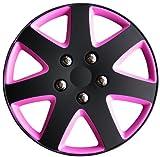 Best Hubcaps - AutoStyle KT962-13BK/PNK Hubcap Set Michigan 13 Matblack/Pink Review