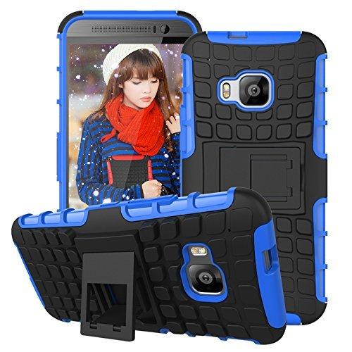 HTC One M9 Kick-Ständer Hülle,Mama Mouth [Heavy Duty] Rugged Armor stoßfest Handy Schutzhülle Silikon Tasche Ständer Hülle Case mit Standfunktion für HTC One M9, Blau
