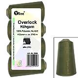 4 Stück Spulen Overlock - Nähgarn, oliv, a. 2743 m, NE 40/2, 100% Polyester, Nähfaden, Nähmaschinen Garn, 2940