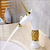 Willsego Faucet Hot and Cold Copper Art Basin Cuenca Baño Personalidad Creativo Gold Faucet White, Gold (Color : Oro)