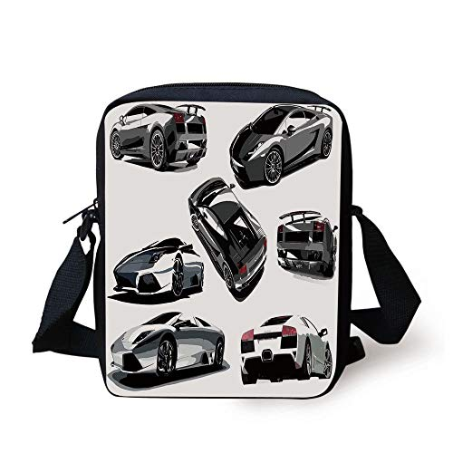 LULABE Modern,Grey Cars from Various Angles Automobile Industry Theme Vehicle Wheel Driving,Grey White Black Print Kids Crossbody Messenger Bag Purse