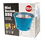 Invero® Mini BBQ Outdoor Barbeque Portable Bucket Grill ideal for Travels, Picnics, Small Summer Parties, Camping, Garden and more (Blue)