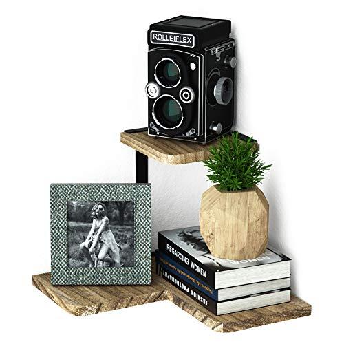 Love-KANKEI Eckregal, 2Etagen Wandboards Wand montiert, rustikale Holz Wandregale für Schlafzimmer, Wohnzimmer, Bad, Küche, Büro und Mehr