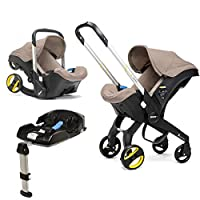 Doona Car Seat and Pram, Dune, Revolutionary 0+ Car Seat that Folds Between Car Seat & Pram in Seconds, ISOFIX Base Included. Car Seat H60cm x W44cm, Pram H99cm x 82cm. Perfect for Travelling