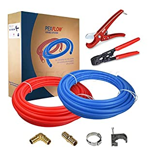 Pexflow PXKT30034 Pex Starter Kit - Crimper & Cutter Tools, 3/4-In Brass Elbow & Coupling Fittings, 3/4-In Stainless Steel Cinch Clamp, 3/4-In Half Clamp, 3/4-In X 300ft PEX Tubing (1 Red + 1 Blue)
