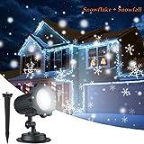 Projecteur LED Extérieur de Noël pour Façade, Éclairage des Flocons de Neige Étanche Idéal pour la Décorations de Noël, Halloween à la Façade de la Maison, au Jardin, sur le Plafond etc.