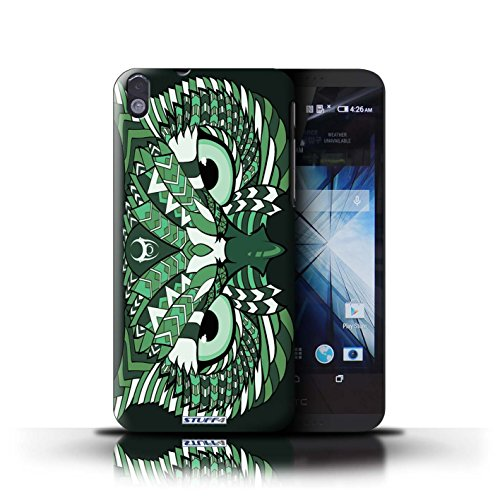Kobalt® Imprimé Etui / Coque pour HTC Desire 816 / éléphant-Rouge conception / Série Motif Animaux Aztec Hibou-Vert