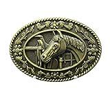 Buckle Horse occidentale , cavallo con sella , ottone antico , fibbia della cintura