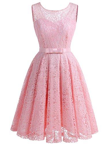 IVNIS RS90016 Damen Spitzen Kleider Cocktail Kleid Aline Vintage Kleid Retro 50jährige mit Flieger Pink 3XL