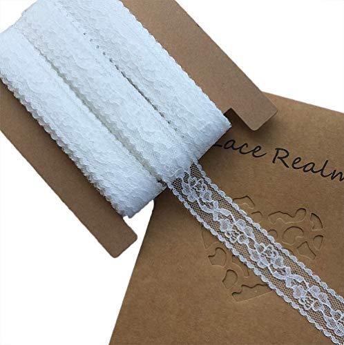 James Fashion 2 Zoll breit x 30 Yards weiß Blumenmuster Trim Lace Ribbon zum Dekorieren, floralen Entwerfen und Basteln, 2,5 cm weiß - Weiß Floral Korsett