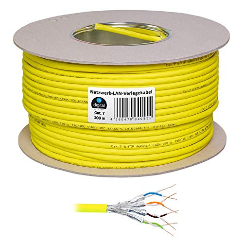 HB-DIGITAL Netzwerkkabel LAN Verlegekabel Cable 100m cat 7 Kupfer Profi S/FTP PIMF LSZH Halogenfrei gelb RoHS-Compliant cat. 7 Cat7 AWG 23/1 (Cisco Wireless-netzwerk-adapter)