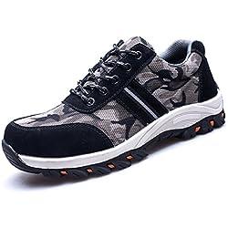 LILY999 Zapatillas de Seguridad con Puntera de Acero Zapatos de Trabajo Ligeros Antideslizante Senderismo Unisex-Adulto(Negro,38 EU)
