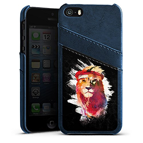 Apple iPhone 5 Housse étui coque protection Lion Lion Street Art Étui en cuir bleu marine