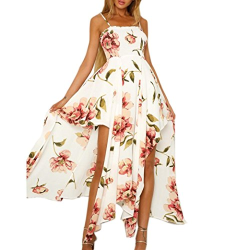 MOIKA Damen Kleid, New Sommer Frauen Floral Printed Sling Sleeveless Lace-up Split unregelmäßige Chiffon Langes Kleid Casual Täglich(XL,Weiß) (Langarm-shirt Krebs)