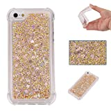 iPhone 5S SE Case, Awesome Glitter Flowing Floating Love Heart Paillettes Quicksand Slim Cover, TAITOU Cool Liquid Moving Clear Ultralight Thin Phone Case for iPhone5S SE Gold