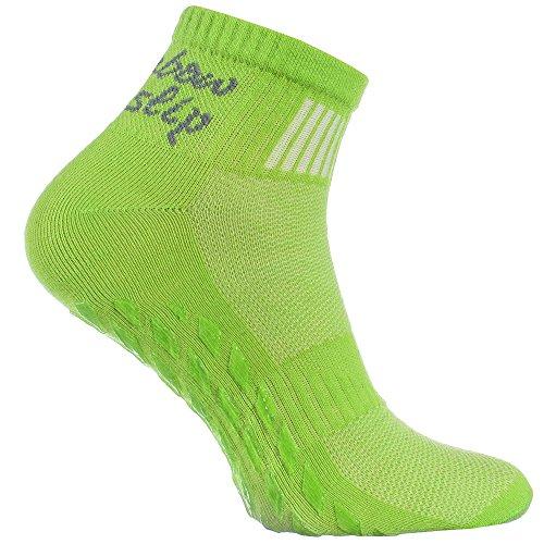 1 Paar grün Anti-Rutsch-Socken mit ABS-System, ideal für solche Sportarten,wie Joga,Fitness,Pilates,Kampfkunst,Tanz,Gymnastik,Trampolinspringen.Größen von 44 bis 46,atmende Baumwolle