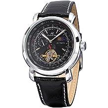KS ks068-amus–Reloj de pulsera de hombre, correa de piel color negro