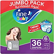 Fine Baby Diapers, DoubleLock Technology , Size 6, Junior 16kg +, Jumbo Pack. 36 diaper count