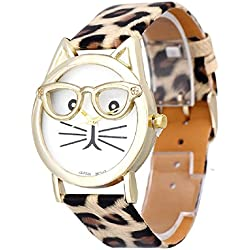 Mallom® Women Lovely Watches Cute Glasses Cat Wrist Watch Khaki