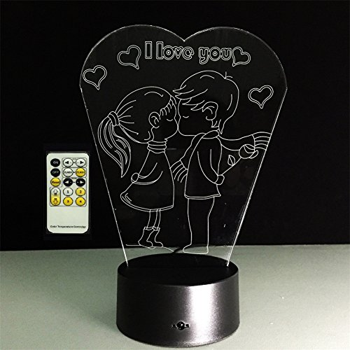 SmartEra® Valentines Gift 7 Color I Love You Heart-shaped Visual 3D Optical Illusion Wireless Remote Control Mood Lamp,Romantic Gift for Boyfriend or Girlfriend ,Lover,Wife