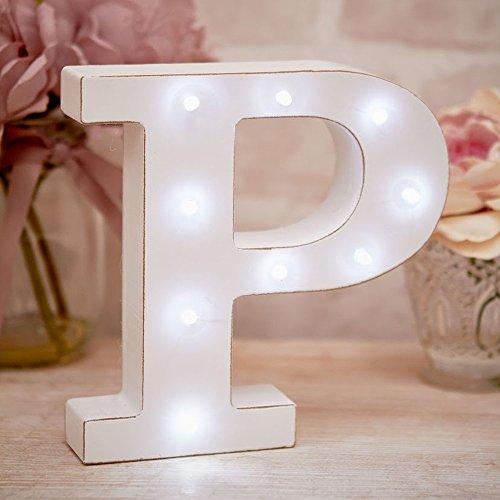P 16cm LED Light Up Vintage Vida Bloque de madera independiente pers