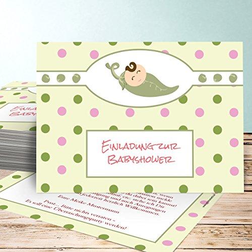 Babyparty Einladungskarte, Babynest 80 Karten, Horizontal einfach 148x105 inkl. Umschläge, Orange