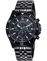 Hanowa Swiss Military  Flagship Chrono - Reloj de cuarzo para hombre, con correa de acero inoxidable, color negro