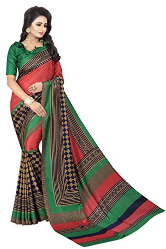 Kanchan Women Wedding Greeny Checks Printed Saree For Ladies & Girls (Sayali_Multi-Coloured)