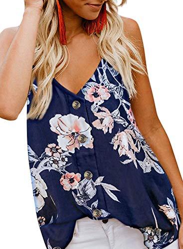 Durio Top Damen Sexy Tank Top Damen Sommertop Spaghetti Top Ärmellose Bluse V-Ausschnitt Shirt Blau mit Blumen EU 40 (Herstellergröße M) - Spaghetti-mädchen-shirt