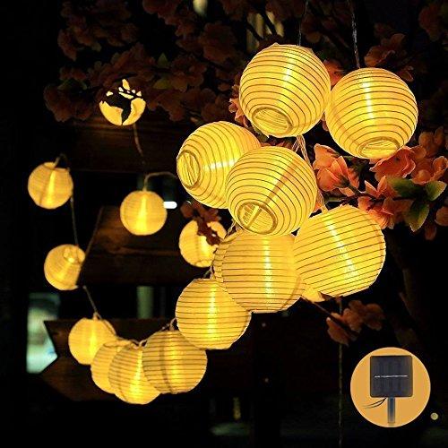 Lichterkette außen,DeepDream Solar Warmweiß Lampion 30 LEDs 6M LED Lichterketten außen Laterne wasserdichte Gartenbeleuchtung für Partys, Hochzeiten, Halloween, Weihnachten und andere Innen und Außenbeleuchtung Dekoration[Energieklasse A+++]