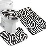 Pixnor 3 Stück Bad Teppich Set Muster Badezimmer Teppich / große Kontur Mat mit Deckel Cover (Zebra-Streifen)
