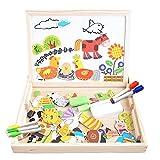 Holzpuzzle Tafel Magnetische Puzzle Magnetisches Legespiel Magna Doodle für Kinder Jungs Mädchen 3 4 5 Jahren Alt (Farm-Muster)
