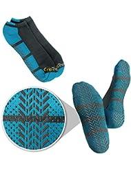 Grip Tread Socks mujeres no deslizante Si no se presenta la banda de rodadura de agarre de hospitales y centros de yoga Calcetines 1 Pack Large Azul y gris