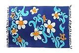 Ciffre Großer Sarong Ca 170cm x110cm Pareo Wickelrock Wickeltuch Badeunterlage Saunatuch Schal Loop Wickeltuch Wickelkleid Blau Blume Muster Hibiskus