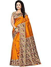 Mrinalika Fashion Women'S Art Silk Saree With Blouse (Multicolor_Free Size)