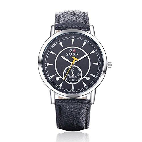 Omega-3-minze (BIAOSHOU® Uhr Mode Bewegung Männer Mode Business Glas Spiegel Minze Grüne Gürtel Quarzuhr , Black)