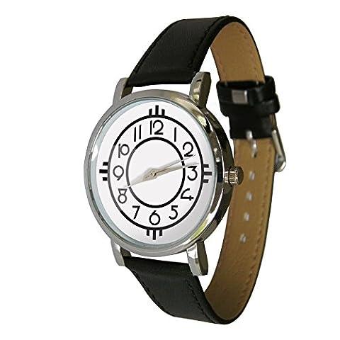 Jugendstil Design Armbanduhr. Echt Leder Strap