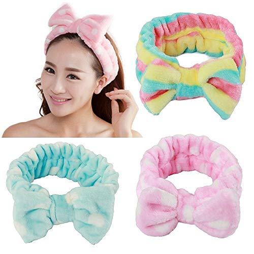 3 pezzi donne/ragazze Fashion lovely/cute Soft Carol Fleece Bowknot Bow makeup Cosmetic Shower Elastic Hair Band Hairlace fascia 3 colori disponibili (rosa, blu e arcobaleno colore)