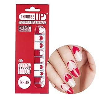 ThumbsUp Nägel die One Rot und Weiß Herzen Nail Wraps/Adhesive/Nail Polish Strips/Full Deckung Nail Art-Sticker/20Packungen pro Pack