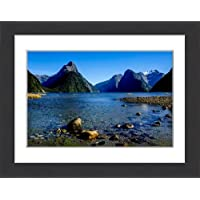 Framed 16x12 Print of The steep cliffs of Milford Sound, Fiordland National Park (10002792)