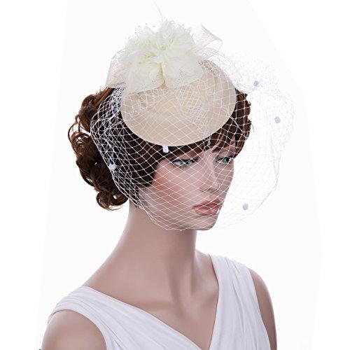 bluemixc flor pluma diadema tocado de malla té fiesta boda Headwear Accesorio de novia con velo
