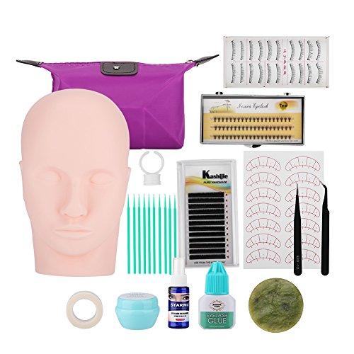 Wimpernverlängerung Kit, Starter Lash Künstler Kit für Anfänger Semi Permanent Individuelle Wimpernverlängerung Training mit Kleber Pinzette Kosmetiktasche