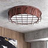 Waineg Decke Lampen/Machen Sie die alte Industrie-Art-Antike-Stab-Restaurant-Schmiedeeisen-Rundschreiben-Maschen-Deckenleuchte-Gang-Balkon geführte energiesparende Lampe, (fegendes Rot)