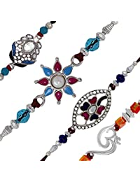 Mahi With Crystal Rhodium Plated Blue, Pink & White Floral Combo Of Four Rakhi For Men/Boys Co1104528R