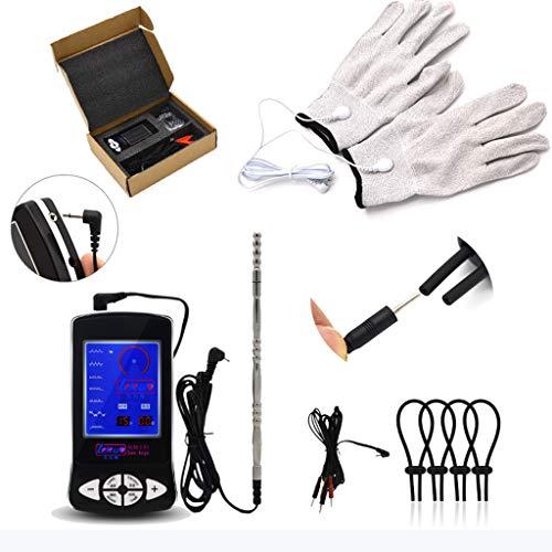 Gemmry Elektro Shock Sex Set Zubehör, mit Analplug Analdildo Penisring und Handschuh zur Elektrostimulation, Folter SM Reizstromgerät Sexspielzeug für Frauen männer Paare